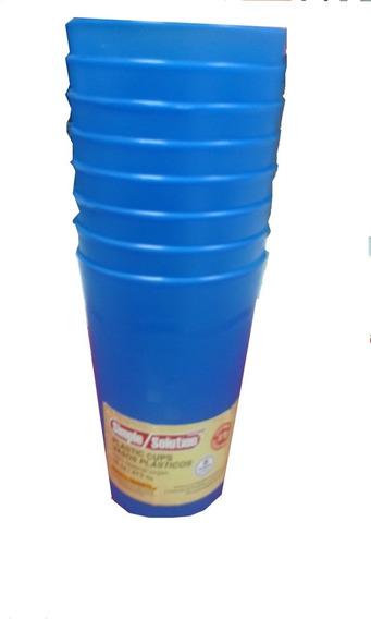 Vaso De Plástico 16 Onzas Color Azul (8 Unidades)