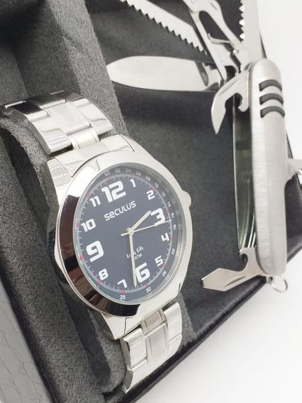 Relógio Masculino Seculus Barato Prateado 28887gosvna1