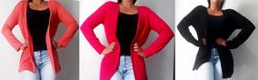 Kit Com 3 Cardigan Feminino Médio Sem Bolso Promoção Barato