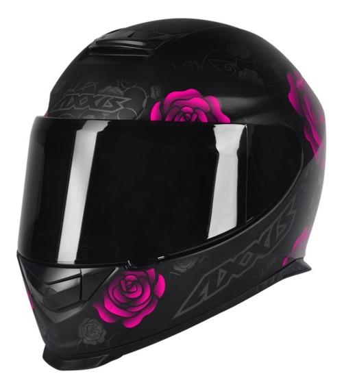 Capacete Motociclista Feminino Axxis Mt Flowers Preto Rosa