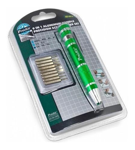 Set Destornillador Proskit Sd-9814 Bolsillo 9 Piezas Metal
