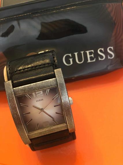 Relógio Guess Pulseira De Couro Genuína Usado