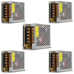 Kit 05 Fonte 12v Alimentação 5a P/ Fita Led Som Cftv Camera