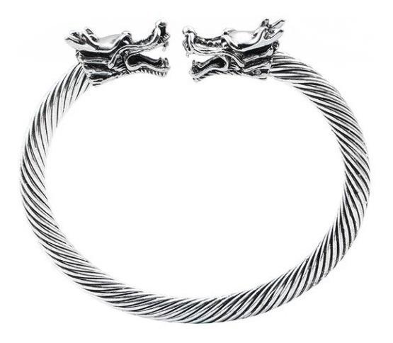 Super Pulseira Bracelete Viking Ragnar Floki Dragão Prateado