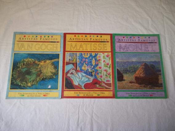 3 Livros Coleção Artistas Famosos Van Gogh Matisse Monet