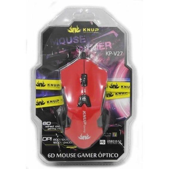 Mouse Gamer Com Fio 6 Botões 2400dpi Knup-kp V27