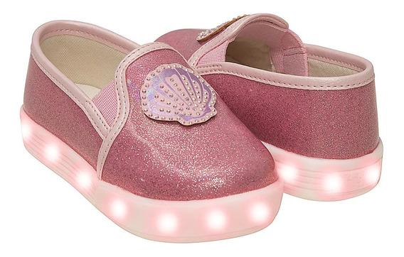 Tênis Led Concha Glitter Rosa - Pimpolho 33143c