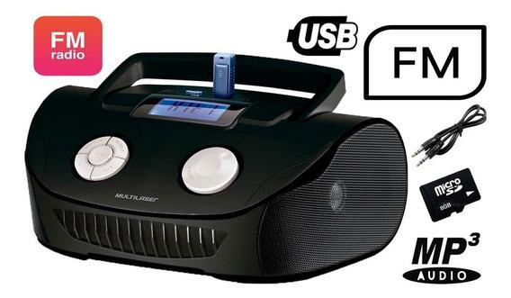 Som Portátil Multilaser Rádio Fm Mp3 Digital Bivolt Usb