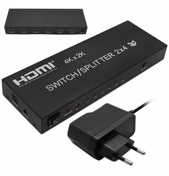 Switch Splitter Hdmi 2x4 Uhd 4kx2k Controle Remoto Fonte