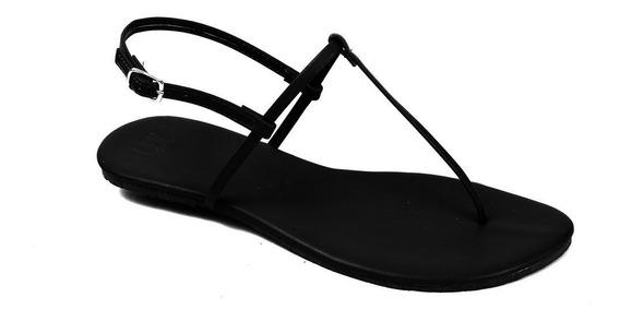Sandália Flat Básica Feminina Mercedita Shoes Preta