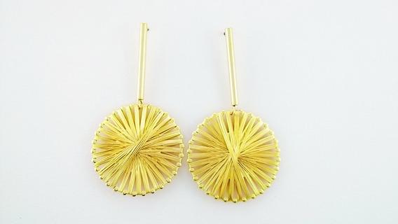 Par De Brinco Feminino Dourado Elegante Semijoia 18 K
