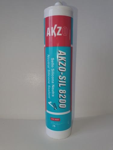 Imagen 1 de 4 de Silicona Neutra Transparente Akzo-sil 8200 Caja 12 Unidades