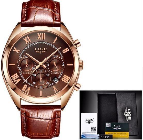Relógio Masculino Quartzo De Couro - Caixa De Presente