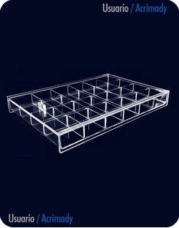Organizador En Acrílico Cristal De 3mm (con 24 Divisiones)