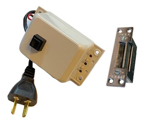 Kit Cerradura Electrica Y Transformador Pulsador Para Puerta Reja