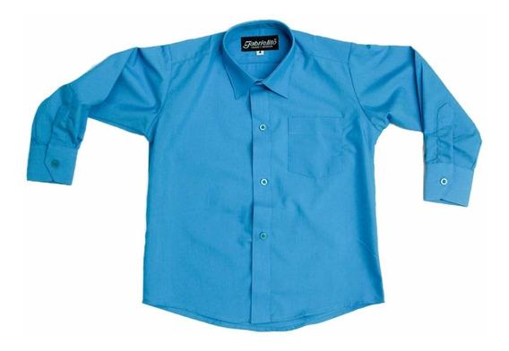 Camisa Manga Larga De Vestir Azul Turquesa Con Moño Incluido