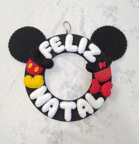 Guirlanda Artesanal Feliz Natal Orelha Mickey Disney