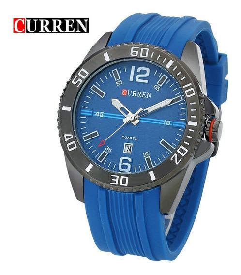 Relogio Curren 8178 Azul Pulseira Azul Borracha Novo Original