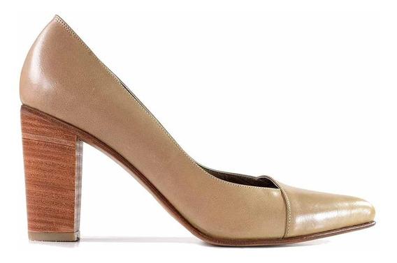 Zapato Cuero Mujer Briganti Taco Alto Suela - Mccz33059