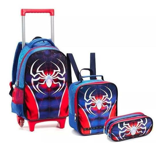 Kit Escolar Infantil Meninos Super Spider Com Rodas Novo