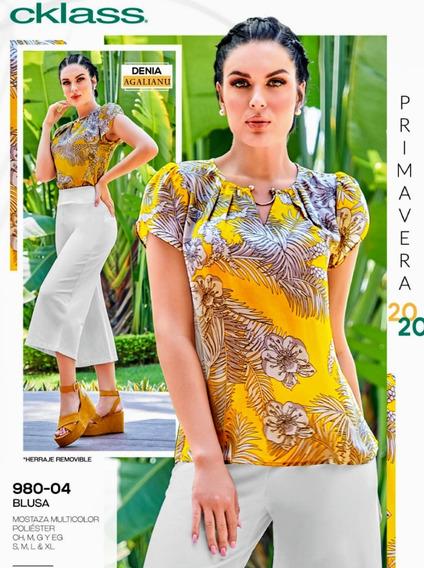 Blusa Mostaza Multicolor 980-04 Cklass Primavera-verano 2020