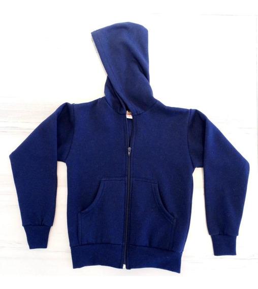 Campera Escolar Canguro Con Capucha Friza Azul, Bordo ,gris