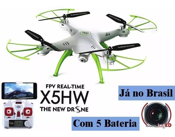 Quadricóptero Syma X5hw C/ Câmera Wifi, Fpv, Drone 5 Bateria