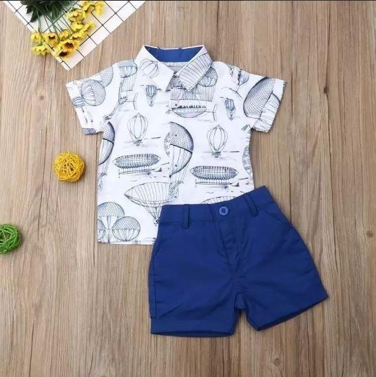 Roupa Infantil Menino Conjunto Camisa E Bermuda Balões