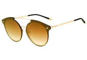 244a1a894 Hickmann Hi 3060 - Óculos De Sol 04a Marrom E Dourado Brilho