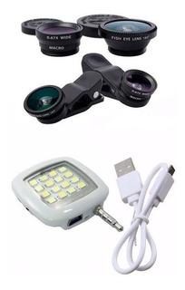 Flash Para Celular Câmera Frontal 16 Leds Kit Lentes Fisheye