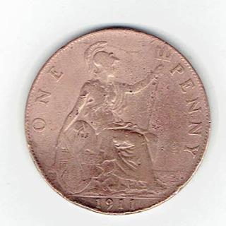 Moneda De Inglaterra, 1 Penique, 1911. Jp