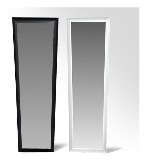 Espejo Decorativo 129 X 37cm Marco 4 Cm Blanco Negro Espejos