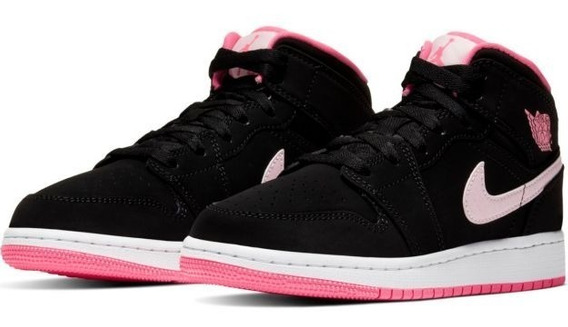 Air Jordan 1 Mid Gs Black Pink