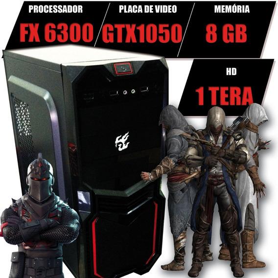 Pc Cpu Gamer Fx 6300 Gtx1050ti, 8gb Hd 500gb + Brindes