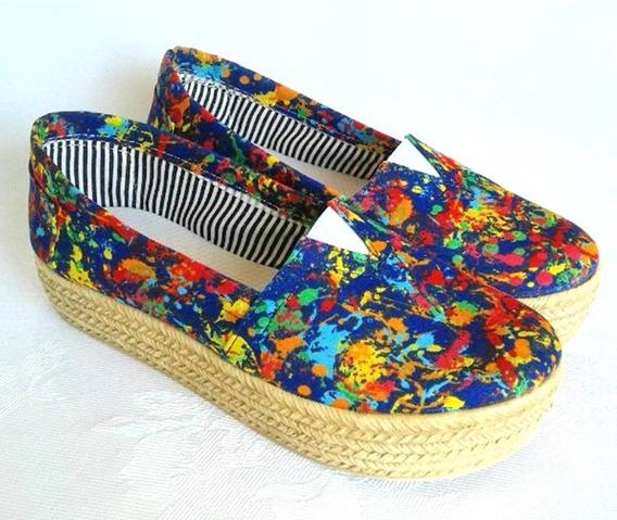 Alpargatas Lona Multicolor Con Plataforma