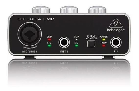 Placa De Audio Um-2 Interface De Áudio Behringer Um2 Usb