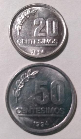 Lote 2 Monedas Uruguay 20 Centésimos Y 50 Centésimos 1994