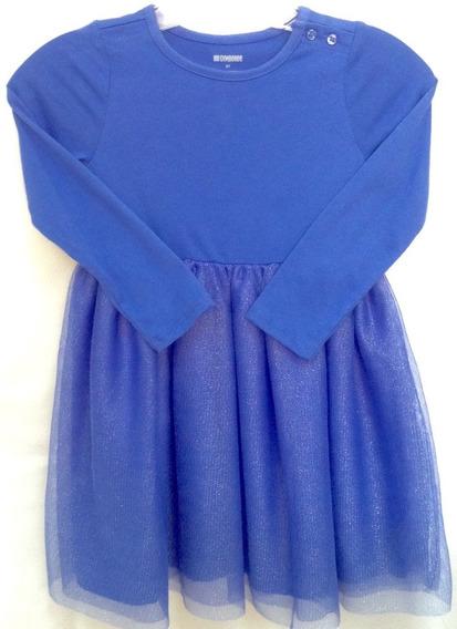 Vestido De Niña Azul Corto Marca Gymboree De Vestir Talla 5t