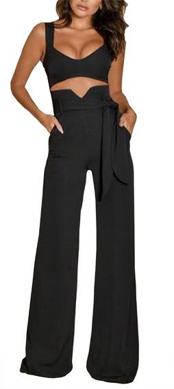 Blusa Feminina Blusinha Cropped Top E Calça Pantalona #cj28