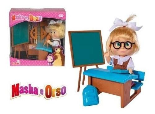 Masha Y El Oso Set Salon De Clases Muñeca Original Simba
