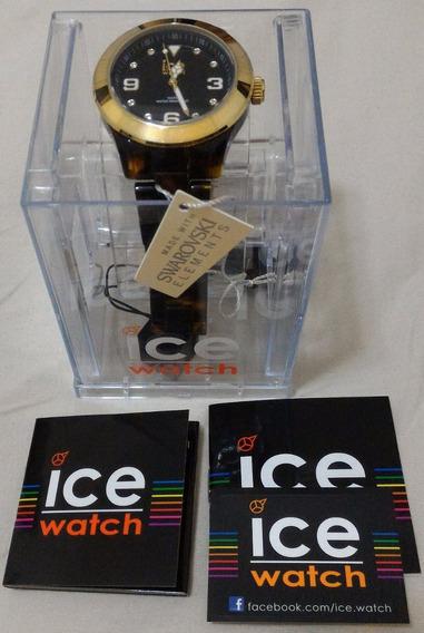 Relógio Ice-watch Com Cristais Swarovski - Marrom - Promoção