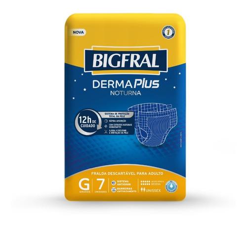 Imagem 1 de 5 de Fralda Bigfral Derma Plus Noturna Tamanho G - 7 Unidades