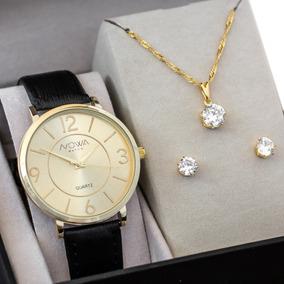 Relógio Nowa Feminino Dourado Couro Nw1412k Brinde Original