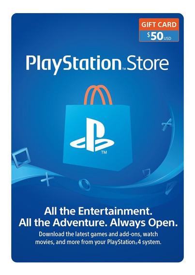 Psn Playstation Ps4 Store 50 Usd Codigo Digital Para Juegos