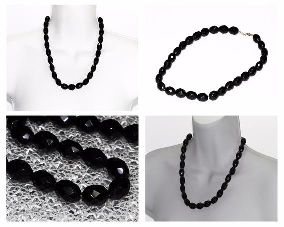 Collar De Piedra Onix Cuentas Biseladas Cpn362