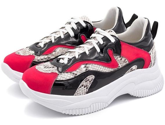 Tênis Sneakers Chuncky Recortes Confeccionado Em Napa Branca