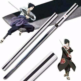 Espada Sasuke Uchiha Naruto Aço Inox Negro Bainha Madeira