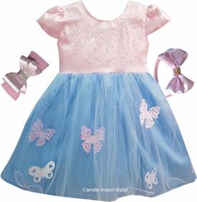 Vestido Infantil Floral Jardim Encantado Glamour Faixa Tiara