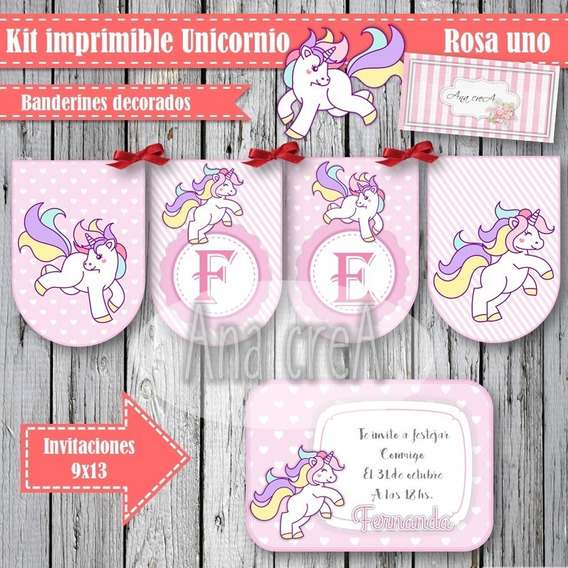 Kit Editable Shabby -unicornios Rosa 1- Completo Imprimible