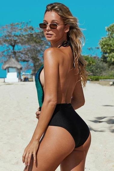 Traje De Baño Casual Sexy Playa Verde Con Negro